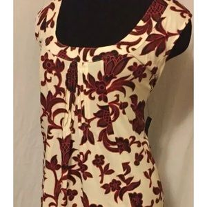 Women's 3X Rafaela red and cream sleeveless blouse